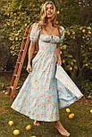 Приталенное платье по фигуре цветочное с акцентом на груди и коротким рукавом (р. S-M) 68032680, фото 2