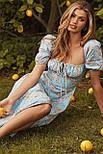 Приталенное платье по фигуре цветочное с акцентом на груди и коротким рукавом (р. S-M) 68032680, фото 3