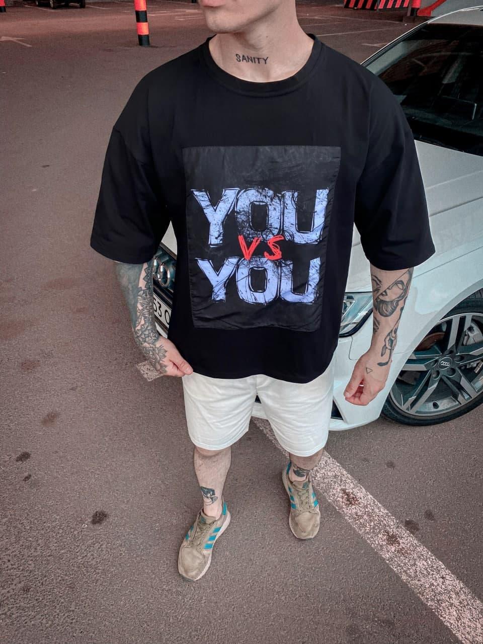 Чоловіча футболка You VS You (чорна) з написом стильний одяг sF233