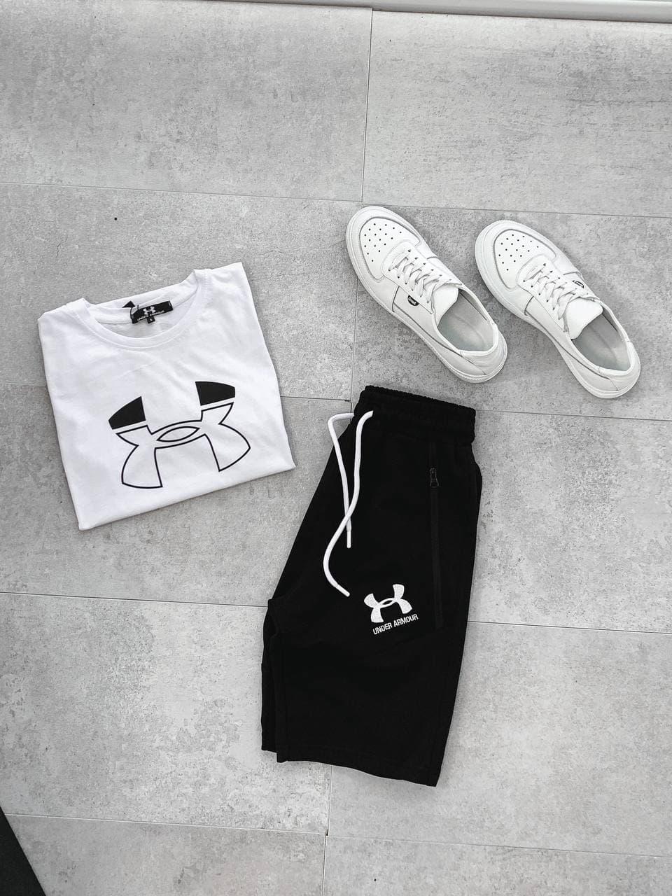 Мужской спортивный костюм Under Armour (черно-белый) А6514 стильная одежда