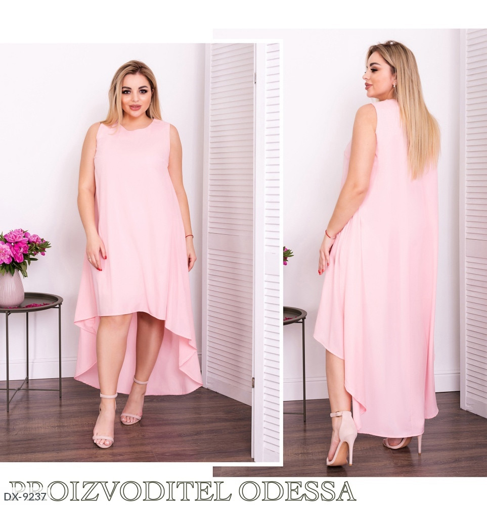 Летнее платье свободного покроя удлиненное сзади с хвостом большие размеры батал 50-60 арт. 836