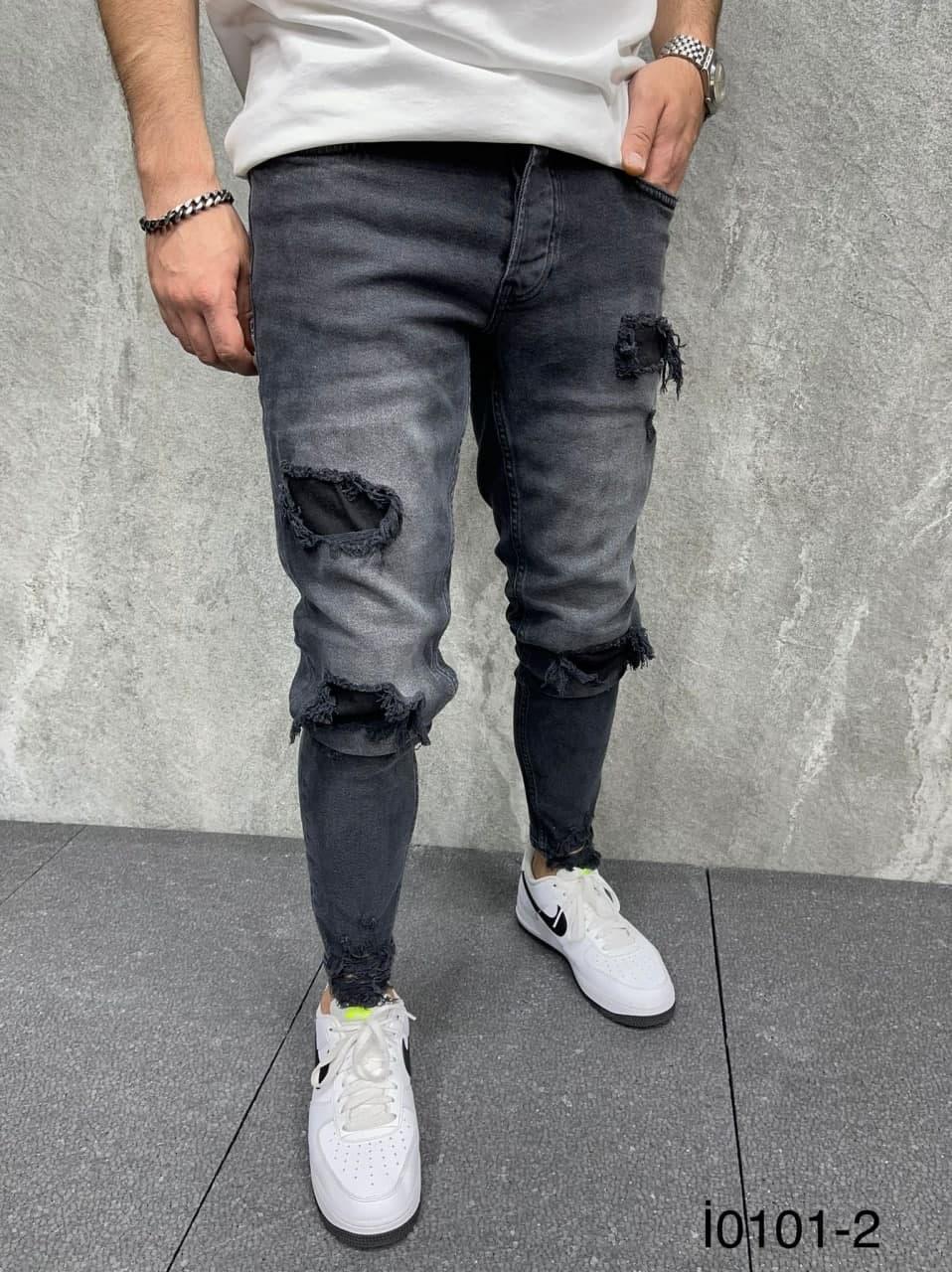 Мужские зауженные джинсы (черные) рваные молодежные штаны si0101-2