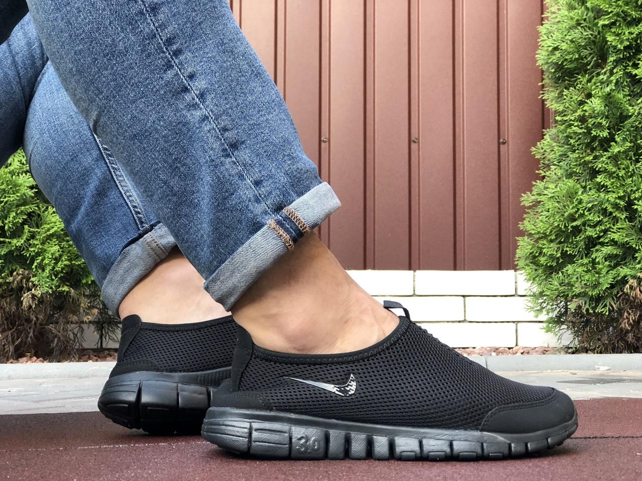 Чоловічі кросівки Nike Free Run 3.0 (чорні) B10570 легке взуття без шнурків