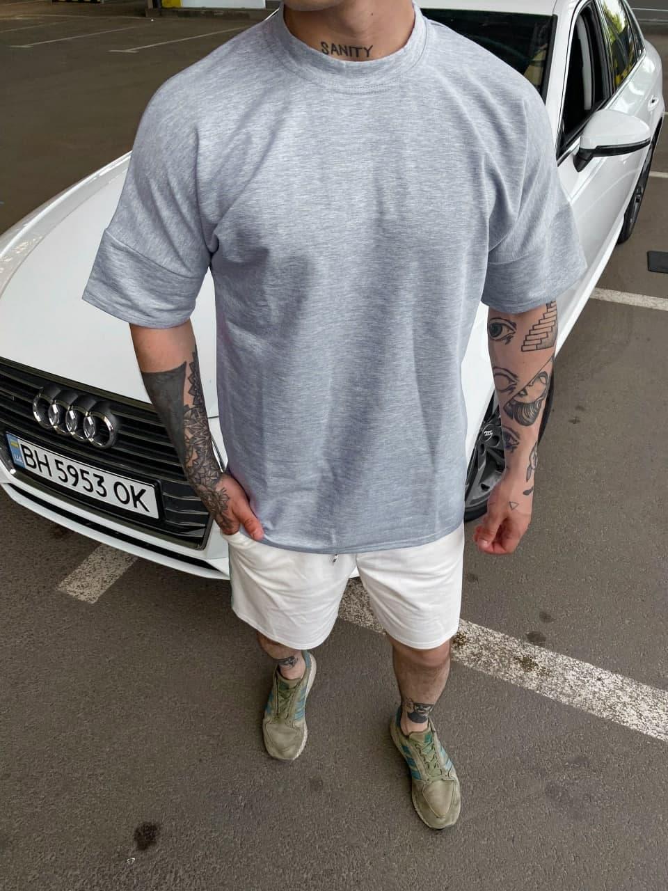 Чоловіча футболка (сіра) однотонна стильна повсякденна sF134