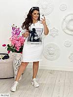 Вільне плаття-футболка до коліна в спортивному стилі з нашивкою розміри батал р-ри 50-56 арт. 764vl