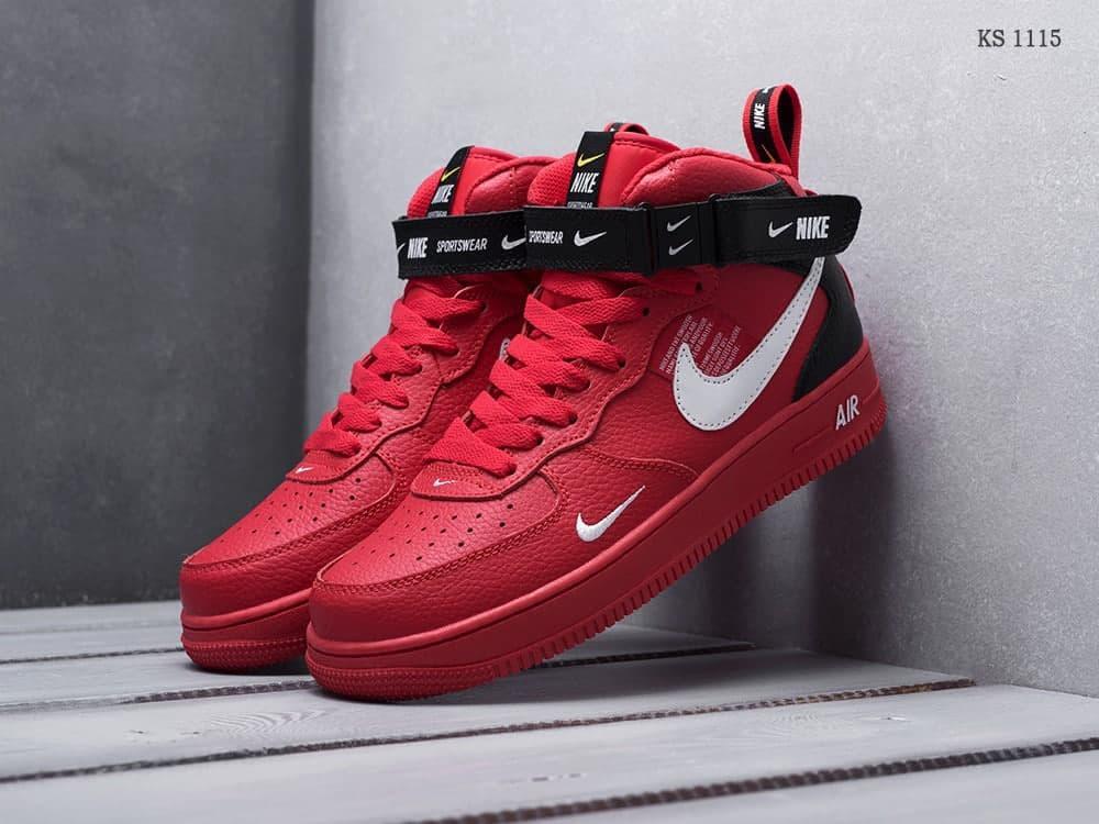 Мужские кроссовки Nike Air Force 1 07 Mid LV8 (красные) стильная обувь KS 1115