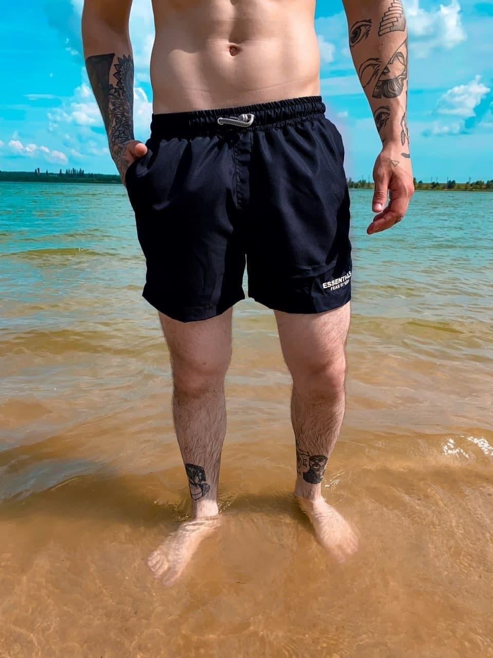 Чоловічі плавальні шорти з написом Palm Angels (чорні) класичні для пляжу на літо ssl17_plm