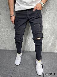 Чоловічі завужені джинси (чорні) рвані молодіжні легкі штани si0101-1