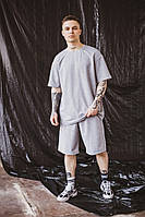 Мужской спортивный комплект оверсайз летний костюм шорты и футболка серый OVERSIZE