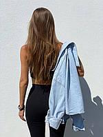 Літній жіночий костюм з трикотажу рубчик з топом і велосипедками (Норма), фото 6