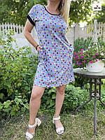 Сукня жіноча кулір горох літній батальне вільний сірий 46-60р.