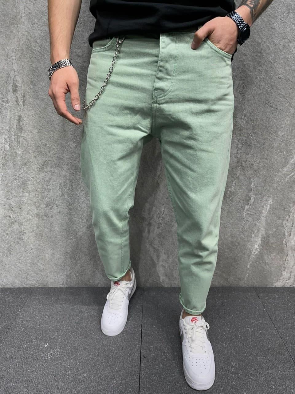Мужские джинсы зауженные книзу (салатовые) стильные на лето s6380