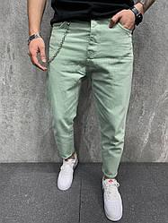 Чоловічі джинси завужені донизу (салатові) стильні на літо s6380