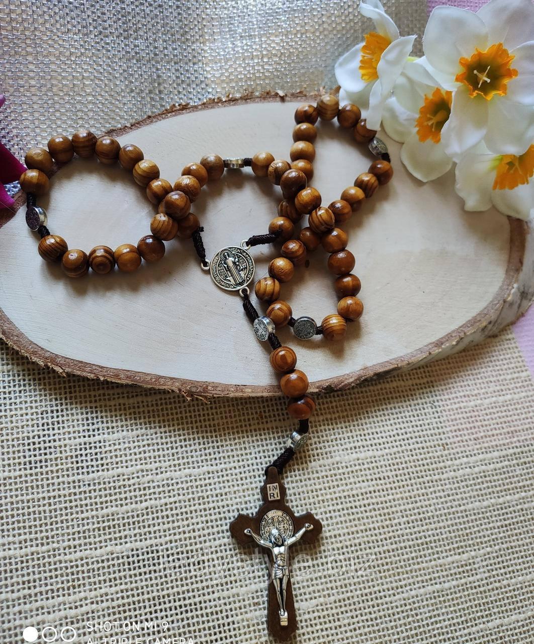 Дерев'яні чотки з хрестом, від студії LadyStyle.Biz