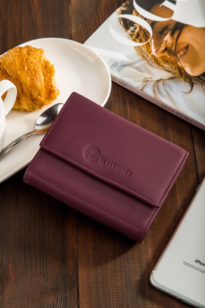 Жіночий шкіряний гаманець Betlewski з RFID 13,5 х 10,5 х 3,5 (BPD-SS-11)- бордовий