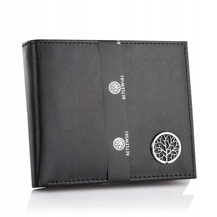 Чоловічий шкіряний гаманець Betlewski з RFID 9,3 х 11 х 2 (BPM-KE-66) - чорний