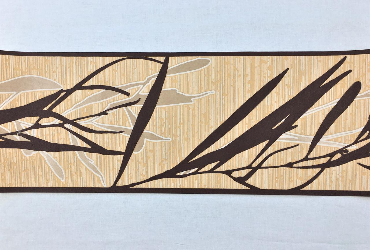 Кант, бордюр обойный 549419, с коричневым растительным узором - ветка, на приглушенном персиковом фоне