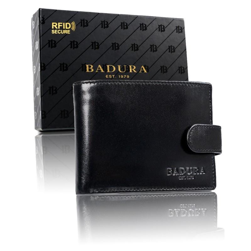 Чоловічий шкіряний гаманець Badura  з RFID 9,5 х 12,5 х 1 (PO_M085CZ_CE) - чорний