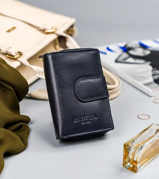 Жіночий шкіряний гаманець Badura з RFID 13 х 9 х 4 (PO_D121GN_CE) - синій