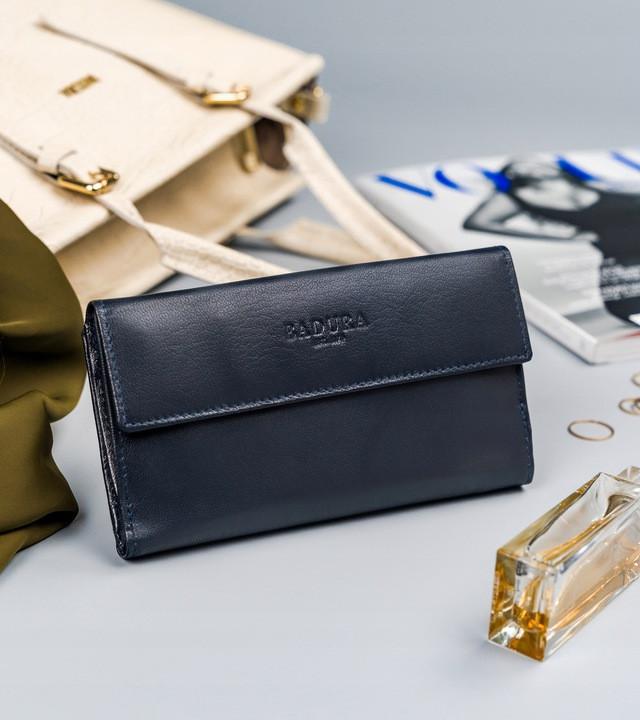 Жіночий шкіряний гаманець Badura з RFID 9,5 х 17,5 х 3,3 (PO_D116GN_CE) - синій