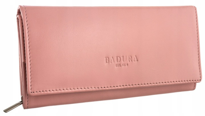 Жіночий шкіряний гаманець Badura з RFID 10 х 18,5 х 3,5 (PO_D114SA_CE) - рожевий
