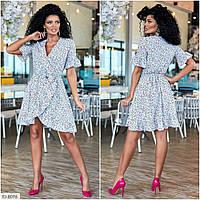 Літній стильна сукня коротка спідниця-трапеція імітація запаху великі розміри р-ри 50-56 арт. 173