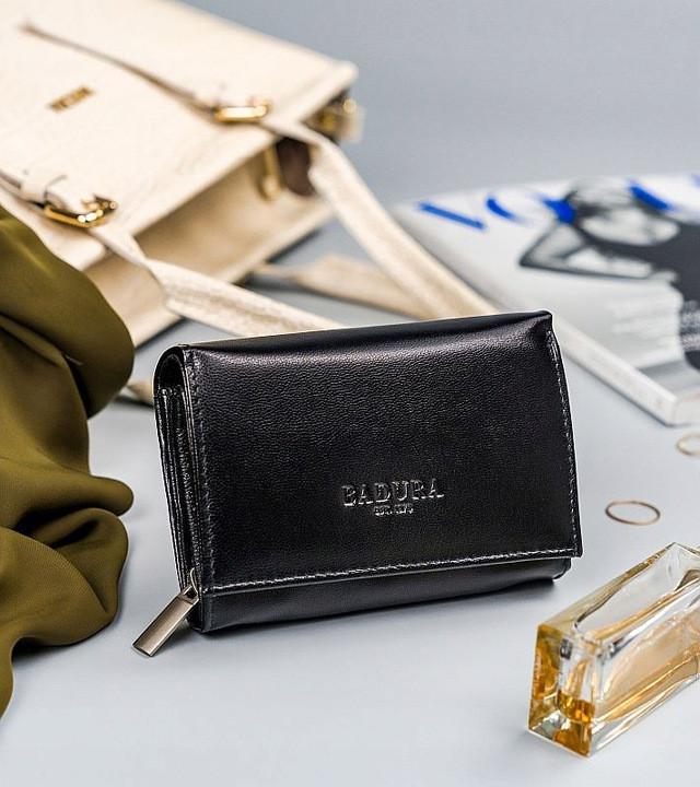 Жіночий шкіряний гаманець Badura з RFID 10 х 13 х 4 (PO_D111CZ_CE) - чорний