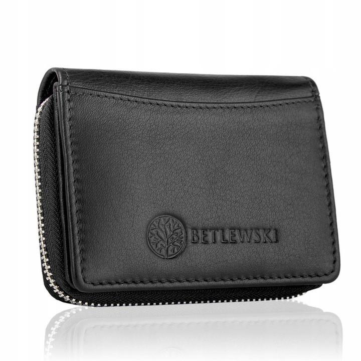Жіночий шкіряний гаманець Betlewski з RFID 10,5 х 8 х 2 (BPD-SS-20) - чорний
