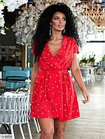 Легке плаття коротке літнє ефектне на запах з поясом великі розміри батал 50-56 арт.178