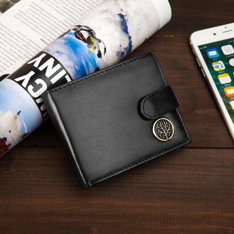 Чоловічий шкіряний гаманець Betlewski з RFID 12 х 9,2 х 2,5 (BPM-BF-63) - чорний