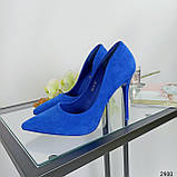 Жіночі туфлі човники електрик, фото 5