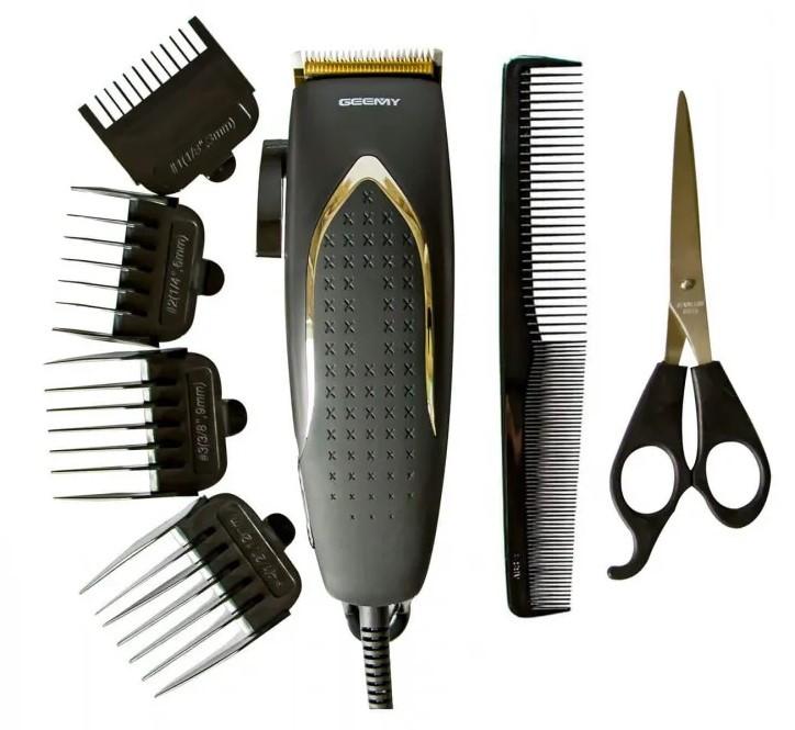 Машинка для стрижки волос Geemy проводная 4 насадки 3, 6, 9, 12 мм