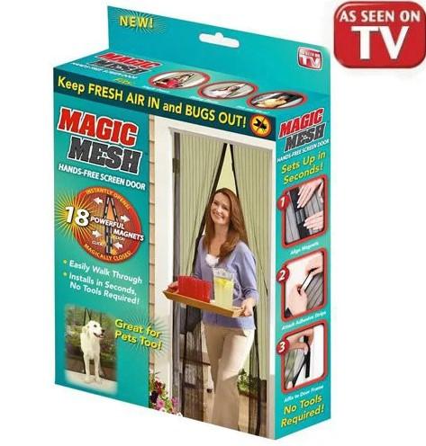 Антимоскітна сітка на двері на магнітах Magic Mesh Чорна 210 х 100 см