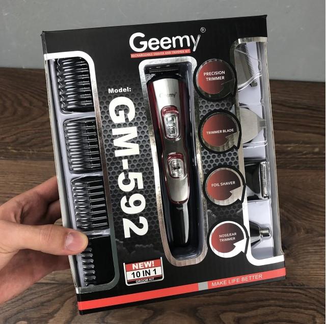 Тример з насадками Geemy GM-592 бездротова акумуляторна машинка для стрижки волосся і бороди 10 в 1