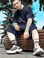 Мужской спортивный комплект оверсайз летний костюм шорты и футболка оверсайз синий OVERSIZE