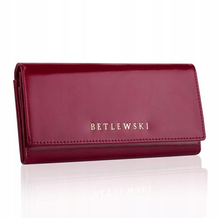 Жіночий шкіряний гаманець Betlewski з RFID 18,5 х 10 х 3,5 (BPD-OL-100) - бордовий