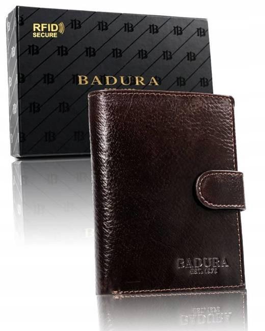 Чоловічий шкіряний гаманець Badura з RFID 13 х 10 х 2,5 (PO_M044BR_CE) - коричневий