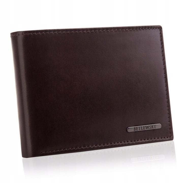 Чоловічий шкіряний гаманець Betlewski з RFID 12 х 9 х 2,5 (BPM-VTC-61) - коричневий