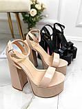 Женские босоножки на высоком каблуке 15 см и платформе 6 см бежевые черные, фото 5