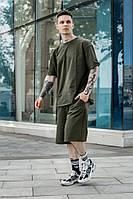Мужской спортивный комплект оверсайз летний костюм шорты и футболка хаки OVERSIZE