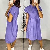 Нежное женское льняное платье в расцветках (Норма и батал), фото 3
