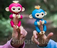 Finger Monkey Інтерактивна іграшка ручна мавпочка на палець Happy Monkey (блакитна)