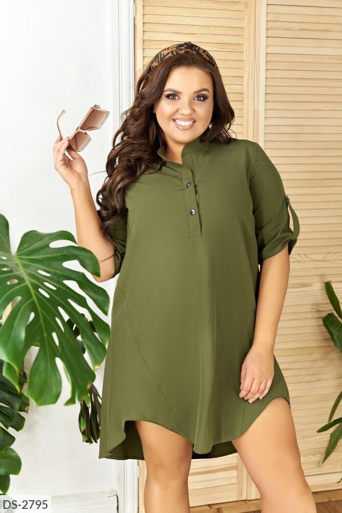 Стильное  платье короткое летнее свободного кроя верх рубашка большие размеры батал 50-56 арт.182