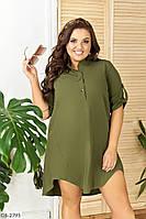 Стильное  платье короткое летнее свободного кроя верх рубашка большие размеры батал 50-56 арт.182, фото 1