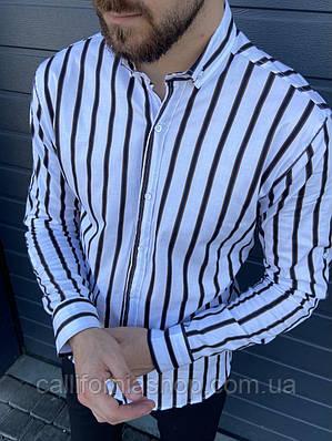 Рубашка мужская белая в черную полоску хлопковая Турция