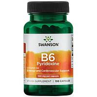 Вітамін В6, Swanson, 100 мг, 100 капсул
