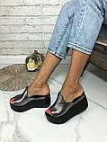 Женские шлепки сабо кожаные Джуси на танкетке 10 см, фото 3