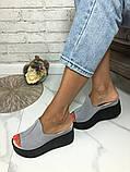 Женские шлепки сабо кожаные Джуси на танкетке 10 см, фото 4