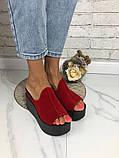 Женские шлепки сабо кожаные Джуси на танкетке 10 см, фото 5