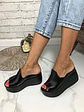 Женские шлепки сабо кожаные Джуси на танкетке 10 см, фото 6